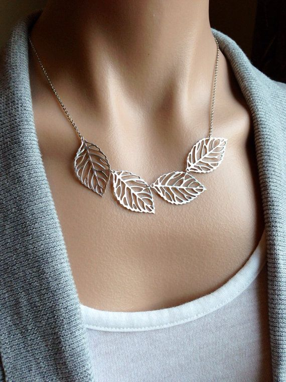 Silver Leaf Bib Necklace - gift, mother, daughter, bridesmaid, sister, wife, friend, birthday on Etsy, $26.00