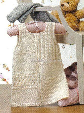 Схема вязания спицами теплого сарафана для девочки