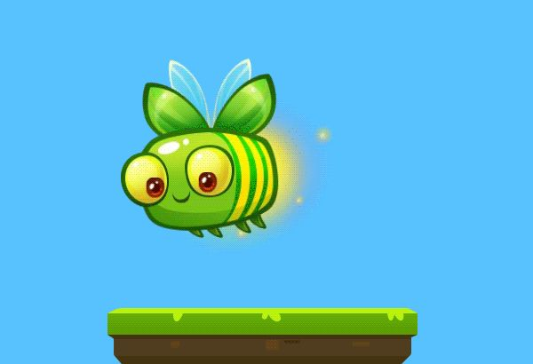 Educational game for kids. IOS app for kids. Professional game graphics. Bee animation. Insect. Animated GIF. Gif animation. Game object.