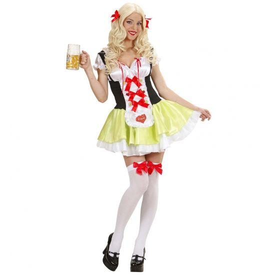 Biermeisjes jurk Ulrike. Kort biermeisje jurk met nep korset in de kleuren groen met zwart met rode details. Bijpassende accessoires zoals kousen en pruiken met vlechten zijn ook verkrijgbaar in onze webshop.