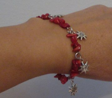 Red coral bracelet - Evil eye for protection and good luck