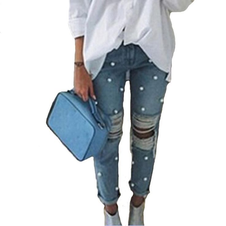 2017 Pearl Pole Spring & Autumn Cotton Ripped Denim Jeans //Price: $40.44 & FREE Shipping //     #hashtag3