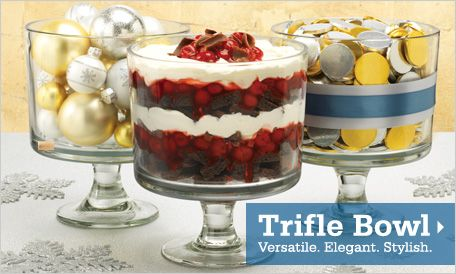 Trifle bowl beauty! Decorate with it, serve beautiful layered desserts or meals, endless possibilities! Recipes on this site too!!