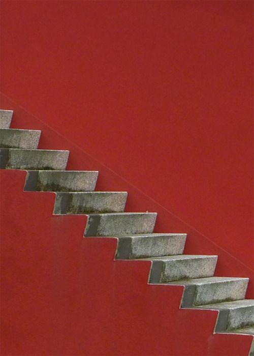 crimsonBuildings Step, Crimson Colours Painting, Red Wall, Red Step, Architecture, Staircas, Red Concrete, Red Stairs, Step Up