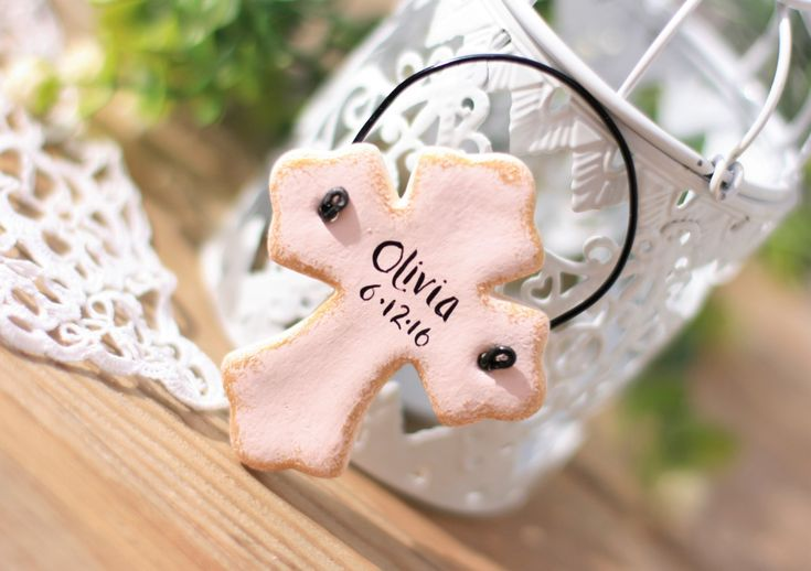 Set of 6 Salt dough cross Baptism favor, 1st communion party favor,Baptism napkin rings, Personalized Cross, Tree decor , Christening favors by BRsaltycandy on Etsy