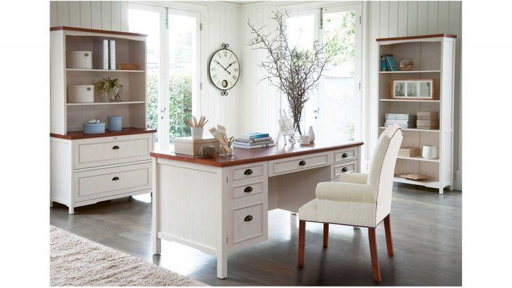 Piedmont Executive Desk   Distressed White   White ...