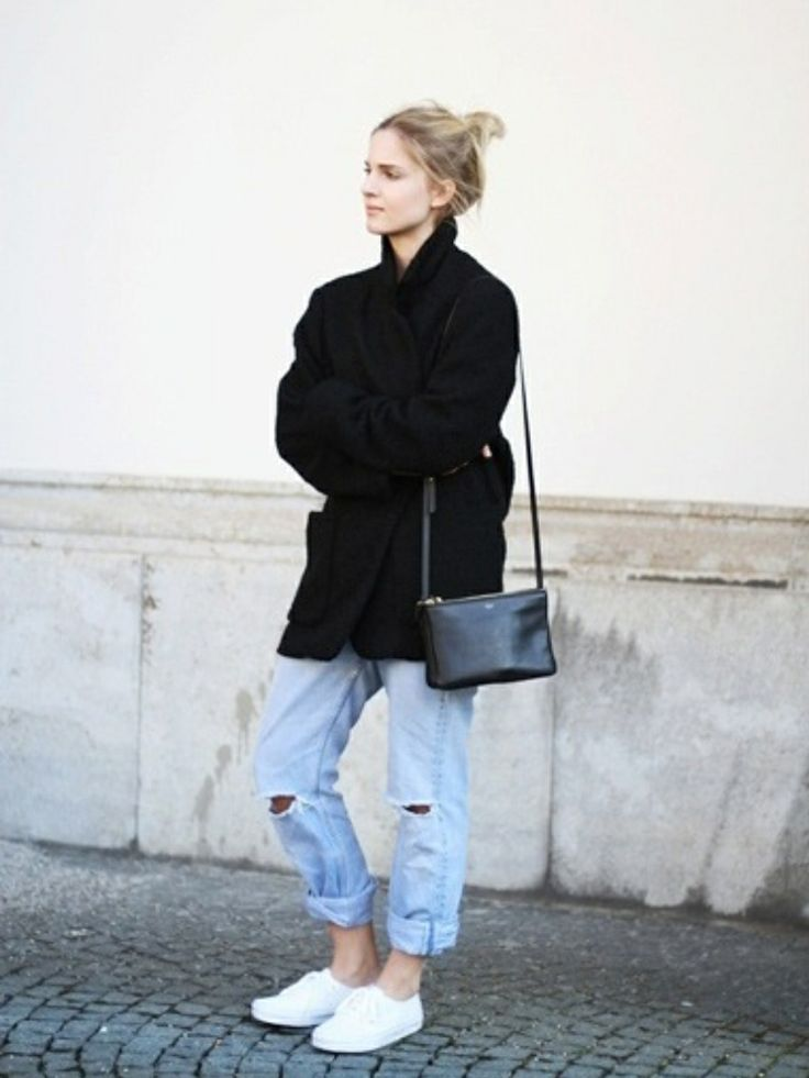 Simple style black and denim