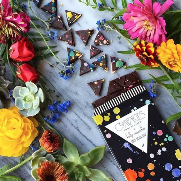 KELLY WEARSTLER X COMPARTES   HUE CHOCOLATE. Paint Splattered Dark Chocolate