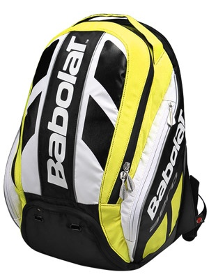 Babolat Aero Pro Backpack  The racquet compartment comes with a handle cover and can store up to 2 racquets without covers. The large main pocket features a built-in vented shoe compartment. Side accessory pockets can fit a can of balls or a water bottle. Backpack comes with padded straps and backing.  $99.00
