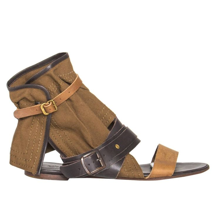 Chloe' Brown Shades Leather & Canvas Sandals