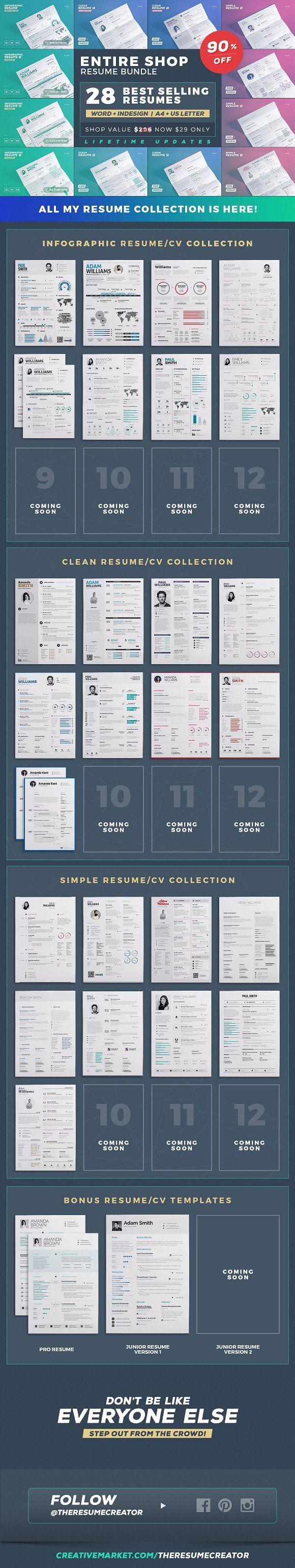 free resumes online%0A Entire Shop  Resume Cv Bundle by TheResumeCreator on  creativemarket