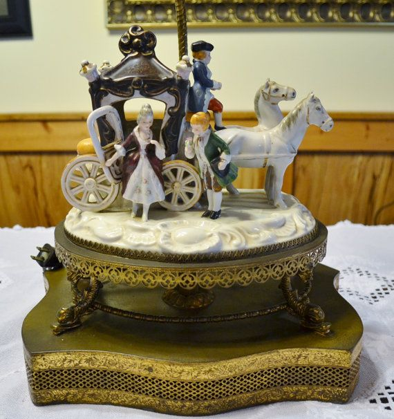 Pottery Barn Carriage Lamp: Dresden Style Table Lamp Porcelain Horse Carriage By