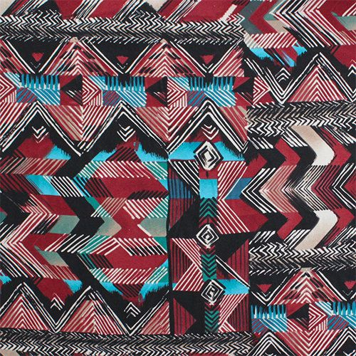 Teal Red and Black Abstract Chevron Tribal Cotton Spandex Jersey Knit, 1 Yard