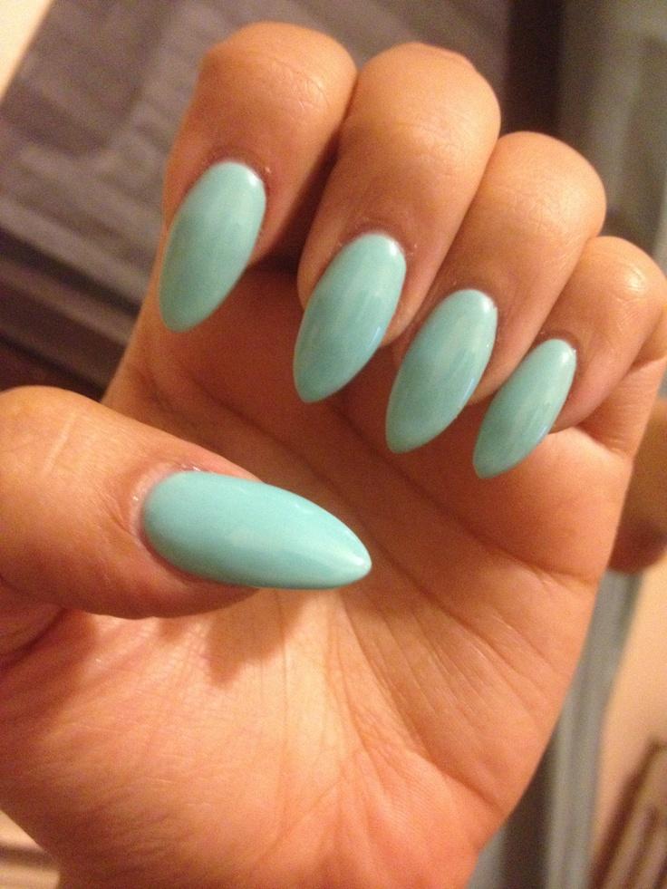 Tiffany S Blue Stiletto Almond Nails Vintage Nails Almond Acrylic Nails Claw Nails