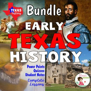 This Early Texas History Bundle includes four complete lessons. The Power Point presentations have beautiful graphics and fonts and professional transitions. They cover:1.  Native Americans in Texas2.  Cabeza de Vaca, Spanish Explorer3.  Coronado Explores Texas4.