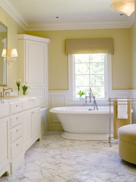 Soft yellow bathroom.  Lots of other yellow ideas...