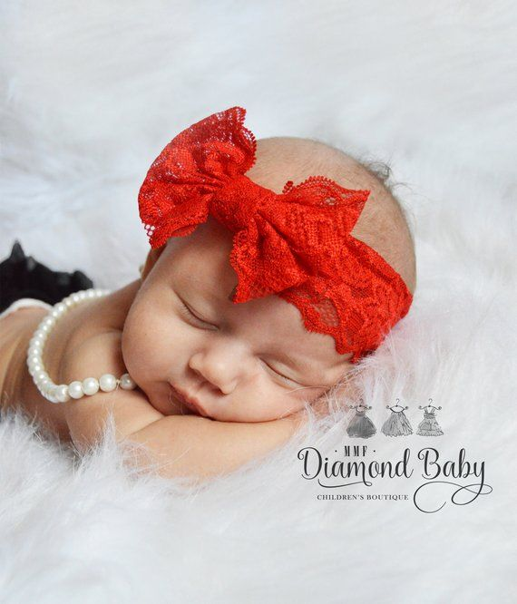 READY to SHIP-Red Lace Bow Headband-Baby Girl Headband- Lace Baby Headbands-  Lace Bow Headband-Baby Bow-Baby Girl Lace Hairbow-Headband b138f279c10