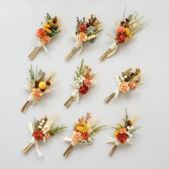 Rustic Fall Boutonniere, Dried Flower Boutonniere, Mustard Yellow Peach Rust, Fall Lapel Pin, October Wedding, Fall Boutonniere, Boutineer
