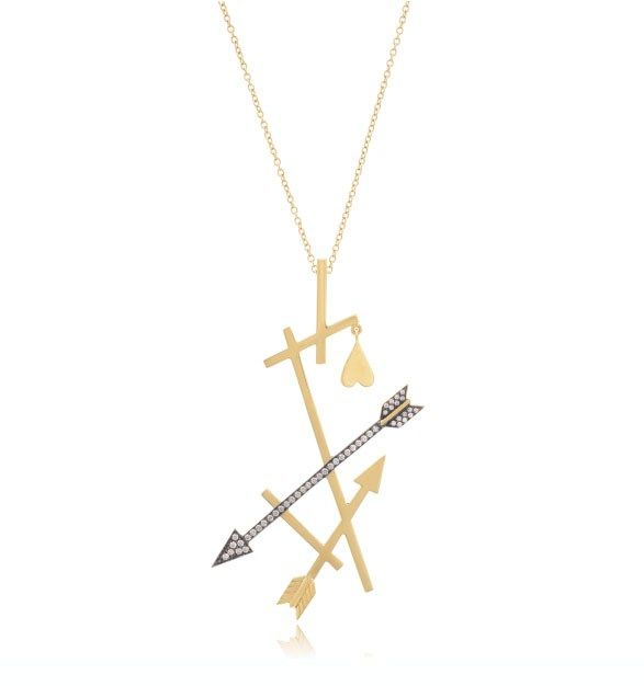 Greek jewelry designer Elena Votsi eros collection necklace with arrows