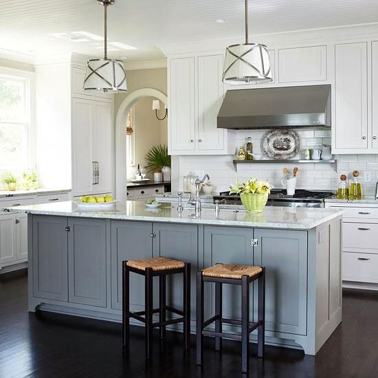 White kitchen cabinets with different color island for Different kitchen colors