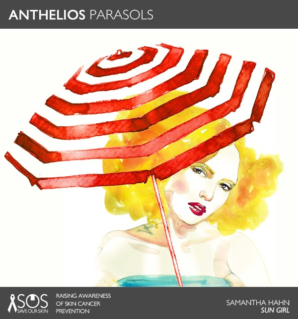 "ANTHELIOS PARASOL: ""Sun Girl"" by Samantha Hahn. #SaveOurSkin REPIN THIS ART TO HELP RAISE AWARENESS FOR SKIN CANCER PREVENTION. For every repin, we'll donate 1 DOLLAR to The Skin Cancer Foundation. #SOSSaveOurSkin"