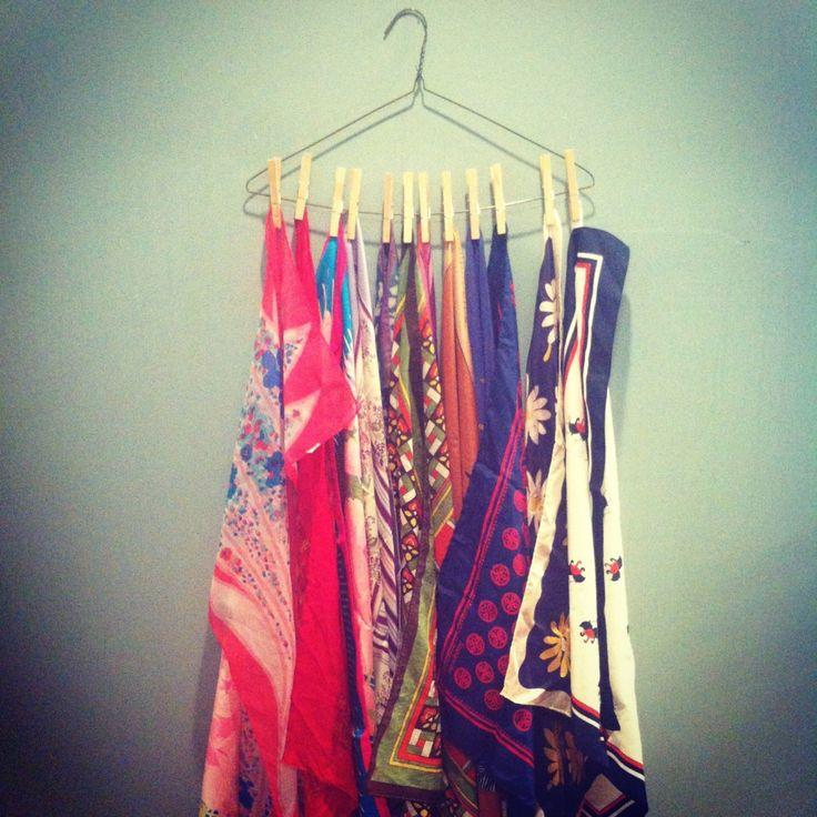 15 DIY Scarf Organizer Ideas I would hang mt athletic headbands too!