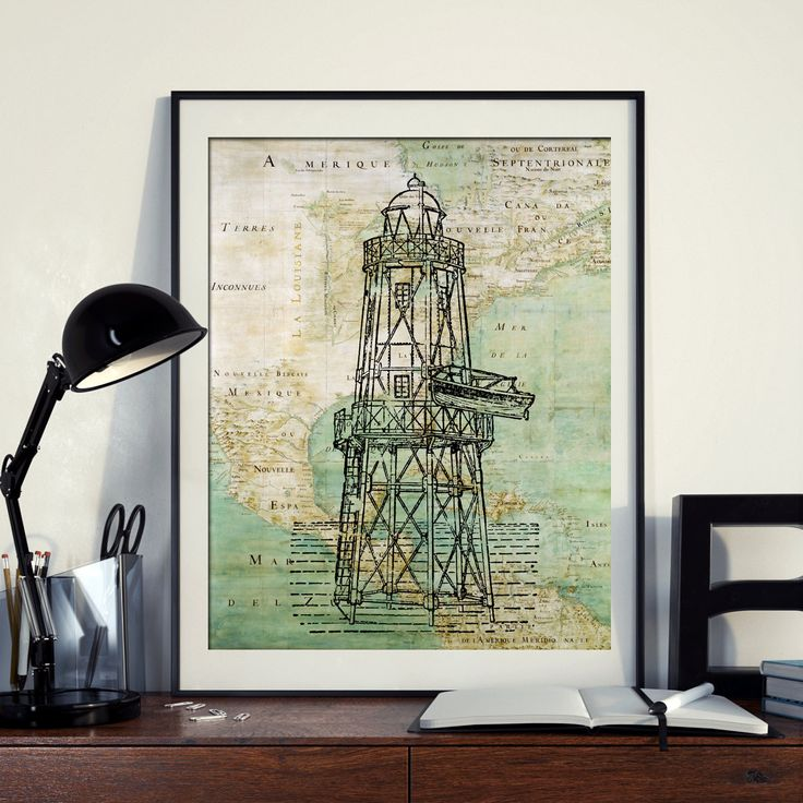 Vintage Map of North America Lighthouse Compass Ocean Seaside Nautical Poster Instant Download Printable A4 A3 8×10 & 11x14 Wall HQ300dpi by ZikkiArt on Etsy