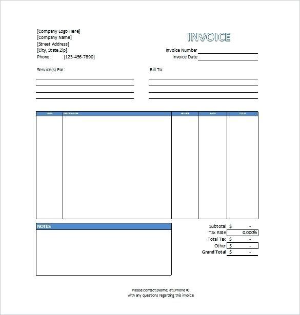 sample invoice for professional services