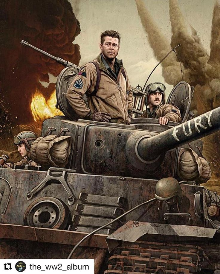 "Awesome Illustration by Rory Kurtz showing three of the five Sherman tank crew; actors Logan Lerman (assistant driver/machine gunner), Brad Pitt (tank commander), and Shia LaBeouf (gunner), in their M4A3E8 ""Fury"", Germany, April, 1945.  _ If you haven't seen the movie Fury, I recommend it. Not entirely realistic historically, but a pretty good WW2 flick nonetheless. Released in 2014."