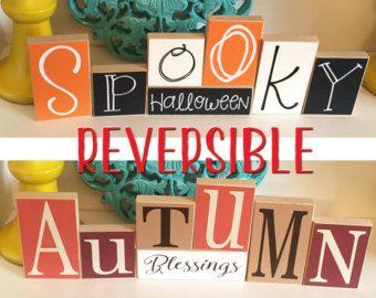 Whimsical Halloween Blocks Halloween Decor by CraftswithasideofYou