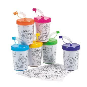 WE COULD PUT A COLORED PICTURE OF MICKEY & FRIENDS INSIDE INSTEAD OF A COLORING PAPER. THESE ARE WHAT WE GOT LAST YEAR. Color Your Own Cups with Lids & Straws - OrientalTrading.com 12 for $10.50 +s/h