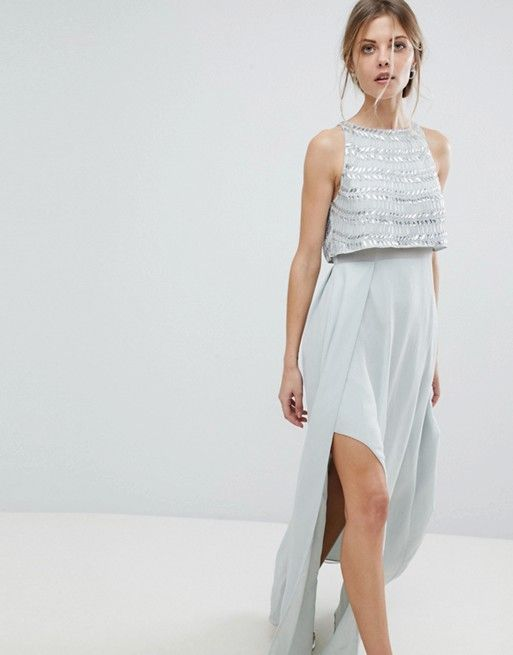 Silver Embellished Crop Top Maxi Dress
