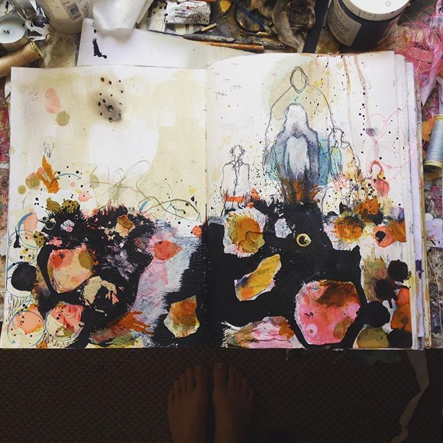 When the past rises at dawn to greet us. #mixedmedia #artjournal Erin Faith…