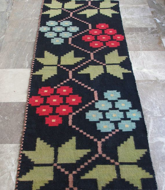 Grapes and Vine Leaves... Vintage Kilim Rug Runner by #VintageHomeStories #kilim #rug #runner #vintage #black #floral #wool #bedroom #decor #wall #hanging #floor #bed #sofa #hallway #Mediterranean #Greek #handwoven #cottage #chic #rustic #art #folk