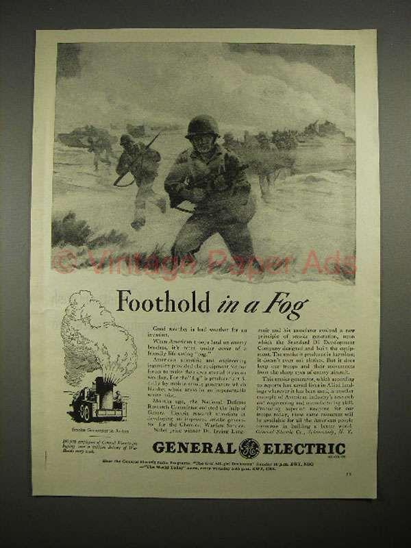 1944 WWII General Electric Smoke Generator Ad - Fog