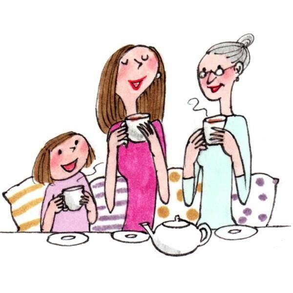 Tea share Grandmom, Mom & me, sharing a cup of tea