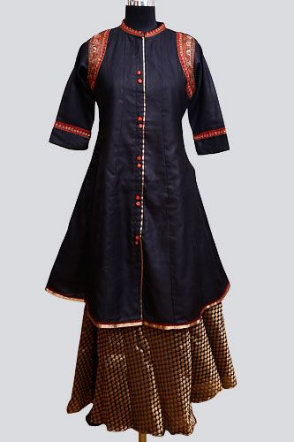 Black Tussar Kurti With Chanderi Lehenga