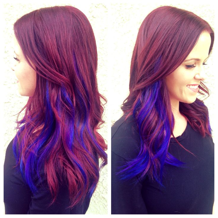 Violet red hair, cobalt blue and purple extensions! Done by the amazing…