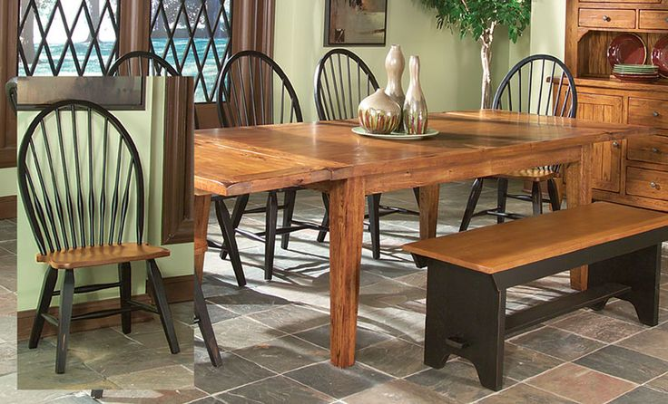 Black and Solid Oak Table and 4 Side Chairs - Grand Home Furnishings | K2832