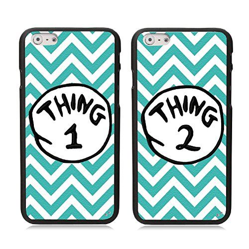 "iPhone 6 Case, Elonbo TM 2 X Cute Blue Waves Thing 1 2 Design Lovers Couple Best Friends TPU Frame Hard Back Case Cover Skin For 4.7"" iPhone 6:Amazon:Cell Phones & Accessories"