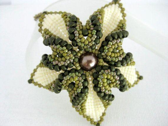 Beadwork Desert Rose Necklace Peyote Seed Beads by MadeByKatarina