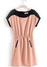Pink Short Sleeve Bandeau Pockets Chiffon Dress $33.28