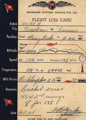 Australian National Airways Pty. Ltd. Flight Log Card - complete with Cricket score!!