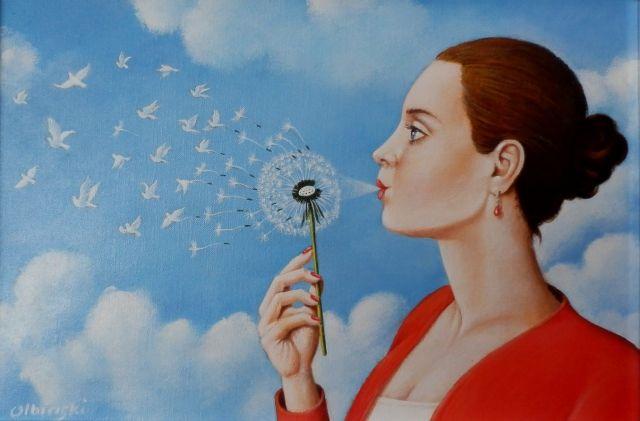 ArtGalery ° PERSONALART.PL author: Rafał Olbiński Oil on canvas, size: 19 cm x 28 cm, 2016 r. Gallery personalart.pl/Rafal-Olbinski