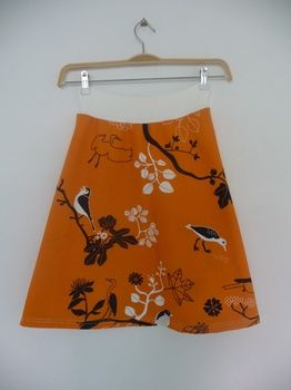 Latitude Skirt 100% cotton with stretch lycra waistband orange birds from Wanderlust trish stenzel | Blue Caravan Ethical Design MarketOrange Floral, Birds Prints, Orange Birds, Yoga Skirts, Aline Skirts, Skirts Orange, Floral Birds, Latitude Skirts, Maternity Skirts