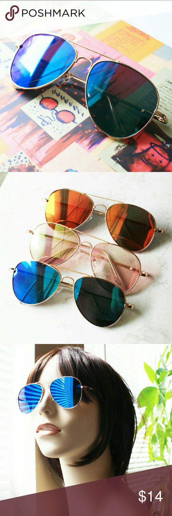 "Fly Girl aviator sunglasses (ocean waves) Gold metal aviator style sunglasses. Blue semi-transparent reflective lens. Lens is 2.25"" wide x 2"" tall Vera Lyndon  Accessories Sunglasses"