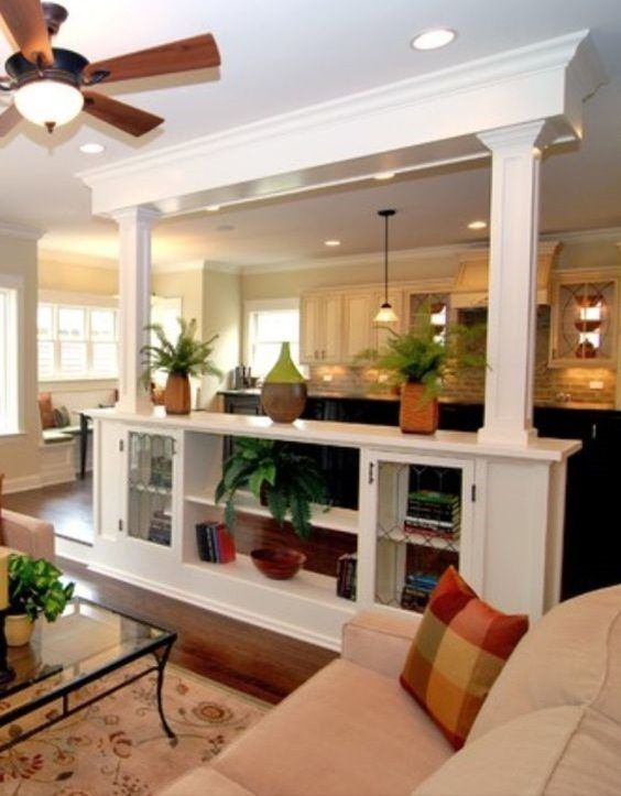 half wall bookshelves | Living room remodel, Dining room ...