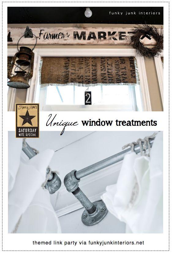 Unique window treatmentsLink Parties, Funky Windows, Theme Link, Unique Windows Treatments, Basements Windows, Funky Junk Interiors, Basements Ideas, Window Treatments, Craft Rooms