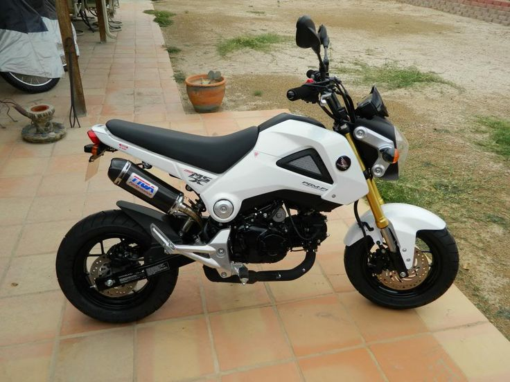 Honda Grom in white with TYGA exhaust, tail tidy also.