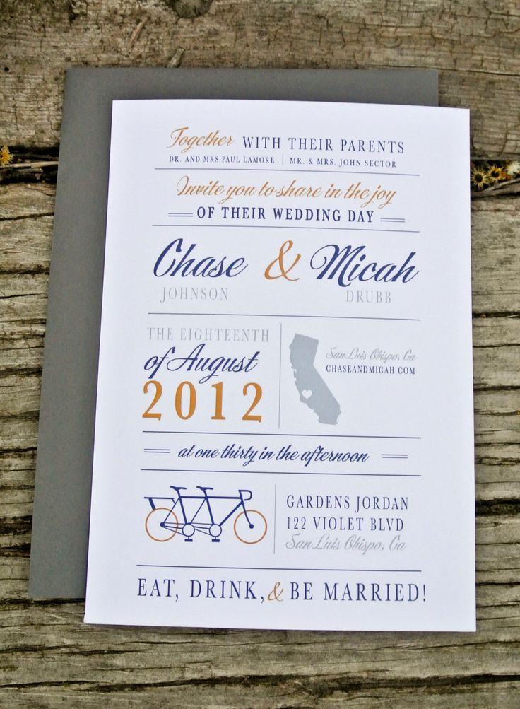 wedding invitations online au%0A Wedding Invitations  Modern Bicycle Invitation         via Etsy